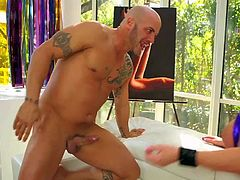 Black haired experienced slut Jayden James with juicy boobs in awesome violet lingerie gives head to tattooed hunk Derrick Pierce and gets wet twat nailed rough all over living room.
