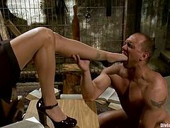 Curvy brunette milf Francesca Le is having fun with John Magnum indoors. She dominates the stud and fucks his ass with a strapon and then they have sex in cowgirl position.