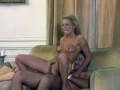 Delightful light haired honey with charming face tops her stud like a cowgirl. Afterwards beauty bends over and does anal getting her butt fucked doggystyle.