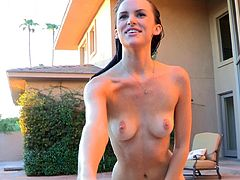 Sensual and very horny Jayden likes posing her nude forms in outdoor solo