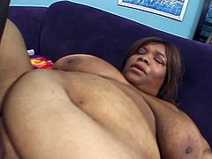 Check out this horny ebony from the hood showing off her huge tits and juicy ass. She uses her favorite toy to penetrate her pussy, but wants his big black cock too.