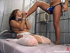 This smoking hot Asian doll Jazmine Leih is recognized as a convict and she is going to be punished by that desirable officer Sandra Romain.