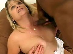 Busty blonde milf Lizzy Liques gives a great blowjob to some black dude. Then she takes his BBC into her throbbing cunt and gets it fucked in cowgirl and other positions.