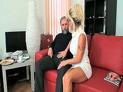 Blonde mature horny bitch has new boyfriend and she loves him a lot, even her son like him too.Watch how she makes this old dude happy with her mature experience.She sucks his cock and gets her pussy drilled by him.
