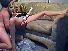 Horny wife gives a blowjob to her hubby and gets her vagina licked. Later on he toys her pussy with a vibrator and fucks in a cowgirl pose.