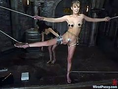 Slim blonde gets tied up and tortured with electricity. After that she gets her hot pussy toyed with electric dildo.