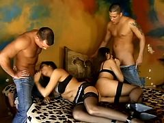Beautiful brunettes Simony Diamond and Afrodite are having fun with two studs. The babes admire the dudes with their cock-sucking abilities and then let the men fuck their holes and double penetrate them.