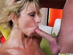 Blonde cutie finds her mouth filled with guys sturdy man meat