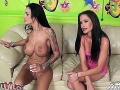 Angelina Valentine lies down on a sofa and plays with her pussy. Then she toys herself and gets her asshole licked.