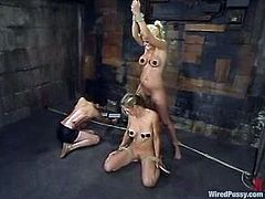 Jamie Brooks and Roxanne Hall are playing BDSM games with some slutty brunette. They let her tie them up and attach wires to their cunts and get multiple orgasms.