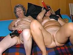 Oma Pass network provides you with kinky lesbian scene with two chunky time worn grannies. Old flabby hookers poke each other's loose snatches with big dildos.
