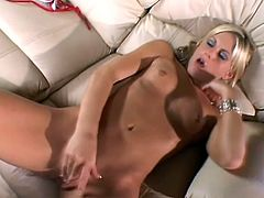 Slim blonde chick Courtney Simpson strips and demonstrates her tiny tits and ass. Then she smashes her pussy with a dildo and moans sweetly with pleasure.