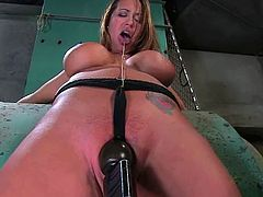 Curvaceous chick gets bound and covered with hot wax. Then she master tortures her tits and mouth. Later on he shoves a hook in her ass and toys the pussy with massive dildo.