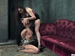 Alright then! Two divine and smoking hot chicks are together to make a BDSM video! Jade ties up Sinn and spanks her ass so damn hard!