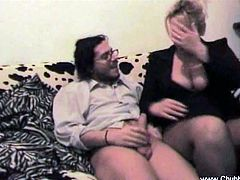 This chubby Italian housewife turned on the camera and started pleasing her husband. She made him hard with her mouth and then she rode his cock on the couch.