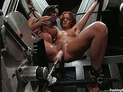 It's a lesbian domination video with Sandra Romain tying Sara Faye and fucking her twat with her fucking machine.
