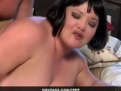 Juicy bbw slut Kelly Shibari is ready to get her fat cunt stuffed. After doing some 69 with this big dicked dude she invited him to stick it deep into her twat.