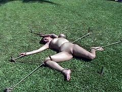Jenni Lee and Mallory Knots are getting their punishment for being such whores. They get bound by some guy in the yard and undergo pain and humiliation.