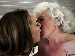 Brunette wench Norma with juicy melons loses control in lesbian frenzy with Vicky Braun