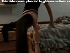 Enjoy this horny gfs solo dancing in her sexy undies and lovely black stocking in her home video.This brunette teen babe shakes her ass while dancing in this homemade video.