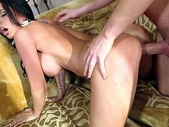 Black haired bombshell Brandy Aniston with huge jaw dropping gazongas and awesome body bends over for Dane Cross and fucks with him like crazy until he sprays her ass with cum.