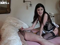 beautiful maid cleans and gets dirty