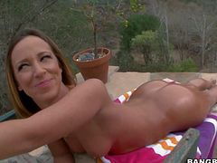 Famous and naughty brunette bombshell Jada Stevens with natural boobs covers her hot body with oil and teases her partner with stunning round ass in pov all over backyard.