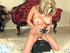 Judging by the look of her erect nipples, one can tell how horny Brea Lynn is, as she's having the sybian fuck her.