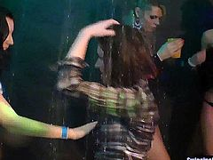 Naughty bisexual chicks licking muffs and fucking in a club sex orgy