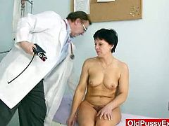 Mature brunette housewife Eva,Visits horny gyno doctor to get her mature unshaven pussy fucked by instruments and enjoyed hardcore fetish during her period exam.Don't miss it!