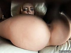 Blonde Annette Schwarz fucks herself to orgasm in solo scene