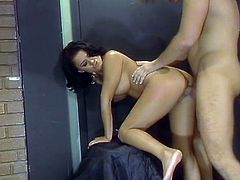 Nasty brunette Eva Angelina gives a blowjob to her man. Then she sits down on his weiner and they have sex in the reverse cowgirl and side-by-side positions.