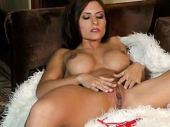 Danni Gee with massive melons and clean twat masturbates with wild passion