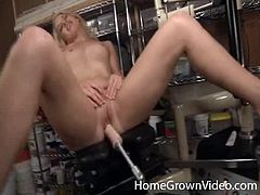 Playful blonde chick strips the clothes off and sits down on a special chair. She spreads the legs and gets her vagina drilled by the fucking machine. She also pleases herself with a vibrator.