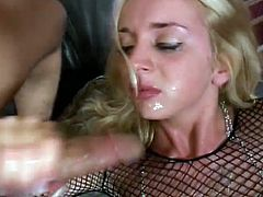 Petite blonde Kelly Wells gives a hot blowjob to two dudes. Then the men destroy Kelly's asshole, double penetrate her and fill her mouth with cum.