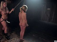 Two delicious and smoking hot blondies Aubrey Addams and Harmony are going to perform in a real hot BDSM scene! They get naked and the pain covers the room