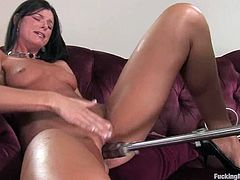Sexy brunette India Summer is having some good time alone indoors. She shows off her hot body and then gets her snatch smashed by a fucking machine.