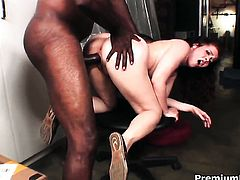 Mae Victoria with huge jugs cant live a day without getting fucked in interracial porn action