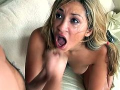 Nice blonde chick with pigtails stands on her knees. The guy fucks Roxy in the mouth and then cums on her happy face.