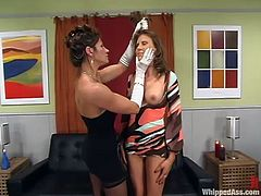 Kym Wilde is having fun with Audrey Leigh indoors. Kym attaches clothes pegs to Audrey's body, then pours scorching wax on her ass and pulls the bitch by the hair all the time.