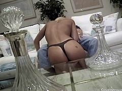 Here's something you'll love to watch! Blonde goddess Jill is a lady but when she feels horny this bitch rips almost her clothes with lust. She approaches this dude that was lazying around on the couch and sucks his penis like a greedy whore. Then, he licks her tight, shaved snatch. Are we gonna see her cum filled?
