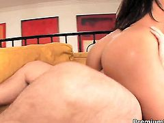 Latin Adriana Luna with gigantic tits knows no limits when it comes to taking cumshot on her face