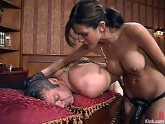 Frank Stone is playing BDSM games with brunette babe Shy Love indoors. The cutie beats the dude with a stick and then slams his ass with a strapon from behind.