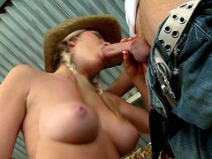 Naughty blonde slut teased that dude with natural boobies to gets his boner and ride it in cowgirl. This lucky dude has to bang this sweet ass.