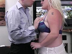 She's chunky and busty! Meet Peyton and enjoy what she does with this guy. Peyton has her ways with men and knows that her big boobs with pierced nipples can make any straight guy horny after her. She presents her boobs to this dude and then greedily grabs his cock to suck it. Wanna see some more?