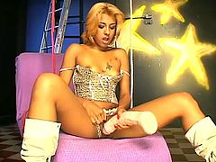 Slim blonde bitch Ana Ferrari is having fun alone. She fingers her shaved pussy and licks her huge dildo and then pokes her toy into her throbbing cunt.