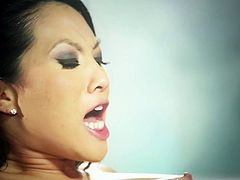 Sultry porn star Asa Akira is wearing black mini skirt and nylon stockings. She gets on top of hard dick upskirt. Asa rides solid pecker intensively. Later on she gets banged hard missionary style.