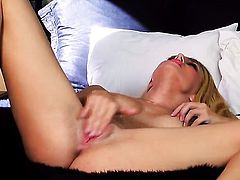 Natalia Starr gives a closeup view of her snatch while masturbating with sex toy