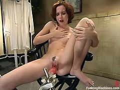 Sexy girl has real fun with one of the most sophisticated fucking machines in the world! She gets her soaking pussy toyed deep and hard.