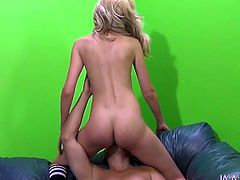 Nasty blonde chick Emily Kae is having fun with horny guy called Porno Dan. She sits down on his dick and gets fucked in cowgirl, missionary and many other positions.